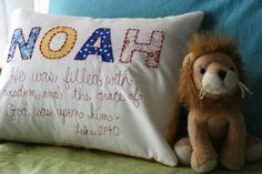 Love these name & verse pillows