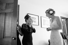 Massachusetts documentary wedding photography, bridesmaid sees bride in dress for first time