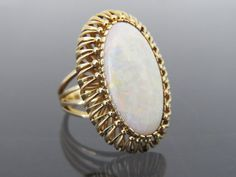 Vintage Solid Yellow Gold Genuine White Opal Ring Size by on Etsy 14k Gold Ring, Gold Rings, Opal Rings, Gemstone Rings, White Opal Ring, Australian Opal, Solid Gold, 1960s, Yellow