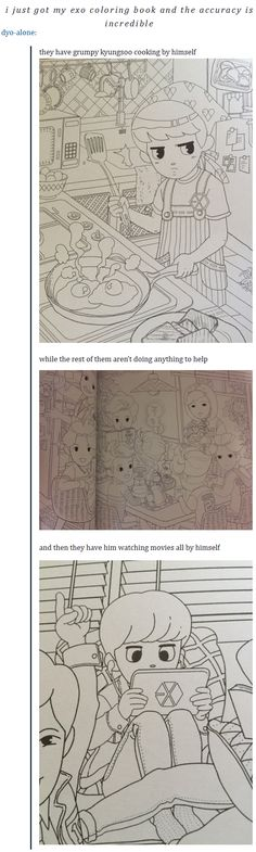exo coloring book and the accuracy ^^^ let's not miss that I'm pretty sure that's Kai sleeping on the table^.^