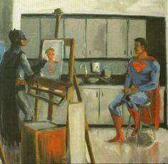 Batman Painting Superman, Victor Alpi.  Found on Geek Art