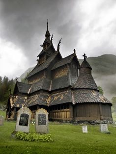 I Need to go there!  12th century wooden church  borgund, sogn og fjordane, norway. Looks straight out of Harry Potter! @Jon Gosnell I think we saw this on Rick Steves' Europe!