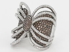 Bella Luce (R) 4.48ctw Mocha & White Diamond Simulant Rhodium Plated Sterling Silver Ring