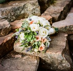 Gorgeous, organic bridal bouquet for Santa Fe wedding, photo by Twin Lens | via junebugweddings.com