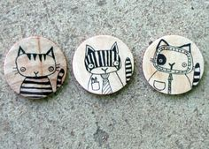 Set of Three Hand Drawn Whimsical Animal Magnets by andralynn, $12.00