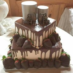 A cool Groom's cake for Kori and Alex's February wedding at Texas Old Town!
