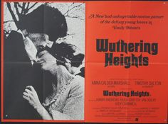Original movie quad poster for 1970 classic film Wuthering Heights starring Timothy Dalton and Anna Calder-Marshall