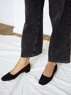BY FAR | Romy Shoes in Black Suede | The UNDONE by By FAR