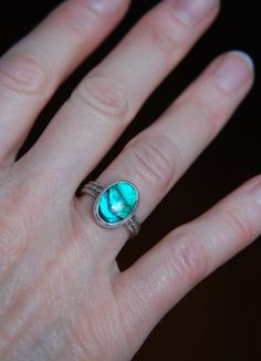 On Clearance - Blue Ring - 925 Silver Ring - Handmade Jewelry - Cabochon Ring - Beach Jewelry