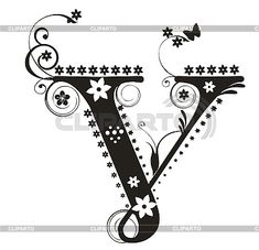 Decorative Letters to Print | Decorative letter V with flowers for design | Stock Vector Graphics ...