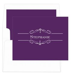 "These modern and trendy foldover note cards are perfect for your notes to friends and family. Typestyles and ink color only as shown. Size 5.5"" x 4.25"". Matching blank envelopes included. Printed return address in flat purple ink available. Optional envelope linings as shown available. Positioning only as shown."