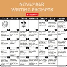 It's almost November—and that means next month's writing prompts are here! Download them today! #writingpractice Work On Writing, Writing Promps, Teaching Writing, Opinion Writing, Writing Workshop, Journal Prompts For Kids, Writing Prompts For Kids, Writing Station, Reading Stations