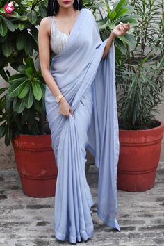Buy Grey Lavender Silk Georgette Dupion Silk Taping Saree - Sarees Online in India Trendy Sarees, Stylish Sarees, Simple Sarees, Fancy Sarees, Saree Draping Styles, Saree Styles, Drape Sarees, Dress Indian Style, Indian Dresses
