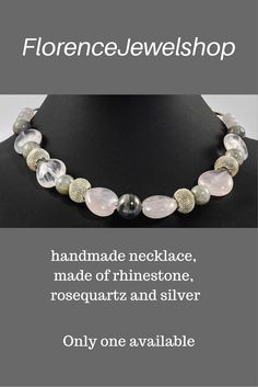 This gray pink beaded gemstone necklace / choker, handmade of semi precious labradonite pink rosequartz, silver gemstone with magnetic clasp. ? 95.  Learn more:  www.etsy.com/...