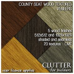 County Seat Wood Textures Veneers. 512x512 and 1024x1024 high resolution wood textures in seamless, shaded and grunge versions. These were specifically developed for use with native prims, plane-stitched sculpts and multi-face mesh models. Available at Clutter for Builders in Second Life. User license applies.