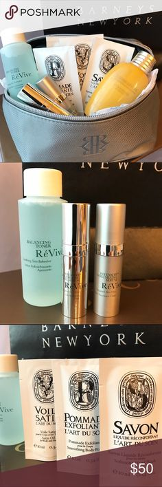Premium NORDSTROM Beauty Samples  BEST BEAUTY DEAL!  RéVive's BEST SELLING Intensité Volumizing Eye Serum (Deluxe travel size Qty.2  3ml each). Retail 30ml $350 - RéVive Balancing Toner (Deluxe travel size 60ml). Retail 6fl oz $65.    DYPTIQUE Face and Body Care Samples. Smoothing Body Polish, Satin Oil for hair and body, Softening  Hand Wash.  L'Occitane Immortelle Divine Lotion travel size.   The best way to try out new products without having to spend a fortune. Includes Barneys New York…