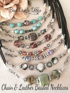 Gotta Check Out These Bead & Chain Leather Chokers!!! Many More To Choose From :)