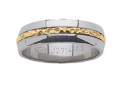 Titanium and 18ct Yellow Gold Patterned Gentleman's Wedder
