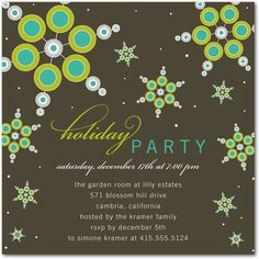 Holiday Party Invitation - love these colors together