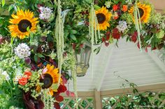 Vibrant summer wedding ceremony flowers adourning the pergola at Maunsel House. A Wilde Bunch design Wedding Ceremony Flowers, Summer Wedding, Pergola, Floral Wreath, Vibrant, Wreaths, House, Outdoor, Design
