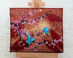 Tiny Turquoise Canvas Yellow and White Cherry Blossom with Pink Butterfly, Butterflies, White Cherry Blossom, Display Easel, Wooden Easel, White Cherries, Turquoise Background, Your Paintings, Unique Gifts