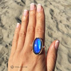 "I love wearing labradorite rings for empathic protection when going out in public! If you're a lover of #labradorite, consider the beautiful energies of this chatoyant blue ring!  Ring Size: 6 Stone Size: 26mm x 16mm (1.02"" x 0.63"")   #jewelry #crystalhealing #fashion #labradoritering"