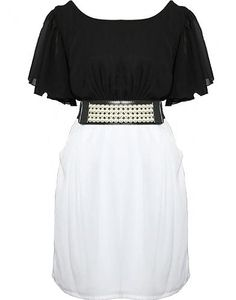 A classic black and white combo fuses at the waist with party-perfect pearl decor. Features an elegant boat neckline framed by fluttery chiffon sleeves, luxe patent belt at waist covered in four neat rows of glamorous pearls, sexy V-design at rear with centered back zipper, and a pocketed white chiffon skirt to finish