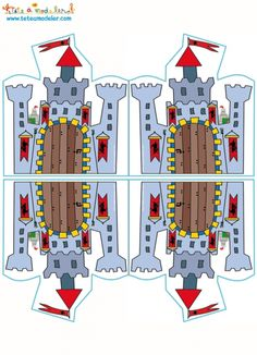 Kaart kleuring kasteel dubbele afdruk