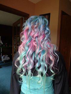 Cotton candy coloured hair