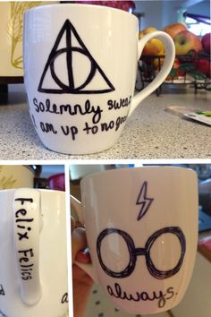 Harry Potter DIY Sharpie Mug. Bake at 425 for 30 minutes and then use clear nail polish to keep design from flaking.  Great gift for all the Harry Potter fans out there :)