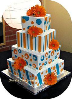 Whimsical Wedding Cake in Malibu Blue and Orange