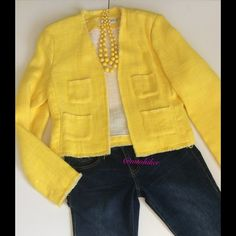 """Calvin Klein Sunny Yellow Raw Edge Jacket Beautiful! Features four front pockets; seaming to shape it nicely and fantastic finishing details on the inside. Please note the edges are deliberately unfinished.  So cute with jeans and a white tee or with white ☀️Chest about 38"""" but this is an open sale; length 20 ☀️ 67% cotton; 33% ramie. Dry clean ☀️ Excellent used condition. No damage or stains ☀️ pictured jeans are listed separately in my closet. Bundle discounts . Smoke free home ☀️ Calvin…"""