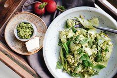 Zucchini Ribbon & Corn Salad with Pesto Zucchini Ribbons, Runner Beans, Corn Salads, Pesto, Lunch, Fresh, Dinner, Dining, Eat Lunch
