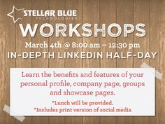 [Stellar Workshop Alert!] LinkedIn is an incredibly powerful tool for professionals, if you know how to use it right. Join us March 4th from 8am-12:30pm for our In-Depth LinkedIn workshop Follow the link for details, class takeaways and to save your seat! Lunch is provided! View details and register here http://stellarbluetechnologies.com/event/in-depth-linkedin-half-day-workshop/?pk_campaign=LHD0304PI30&pk_kwd=