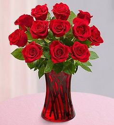 1800Flowers - One Dozen Red Roses - with Red Gathering Vase: Patio, Lawn & Garden