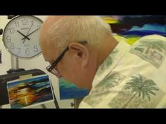 Artist Leonid  Afremov making  copy of Sailing with the Sun 2  in less than 30  minutes - YouTube