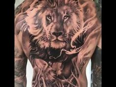 Lion tattoos work best in large pieces due to the amount of detail. This makes them excellent choices to be tattooed on the back, chest, or bicep. Just to help you out, we've put together the best lion tattoo ideas for back. Simple Lion Tattoo, Lion Back Tattoo, Lion Shoulder Tattoo, Tribal Lion Tattoo, African Tribal Tattoos, Geometric Lion Tattoo, Lion Tattoo Sleeves, Cool Back Tattoos, Lion Head Tattoos