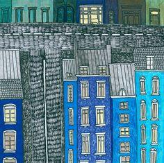 Print Illustration Paris City Drawing Artwork von paulinepolom