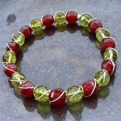 Red carnelian, green peridot
