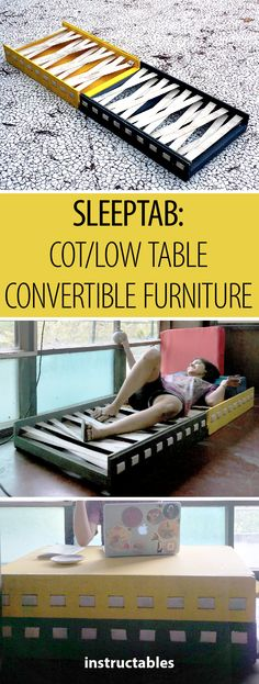 SleepTab: a Sleeping Cum Low Table Furniture for Studio. Diy Furniture Couch, Folding Furniture, Multifunctional Furniture, Furniture Dolly, Diy Furniture Projects, Funky Furniture, Classic Furniture, Diy Wood Projects, Cheap Furniture
