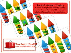 Rocket Number Display - EYFS, KS1, KS2 Bonfire Night and Space Themed Teaching Resources and Class Displays