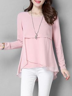 Chiffon Insert Long Blouse - PINK XL