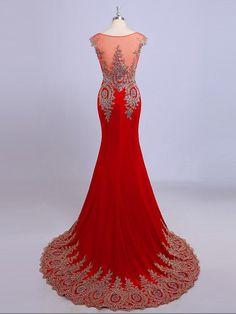 Sheath/Column Sheer Neck Sleeveless Applique Chiffon Court Train Dresses