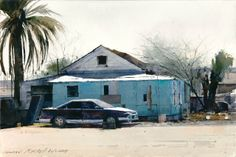 """Dean Mitchell """"Parking on the Reservation"""" 10"""" x 15"""" Watercolor"""