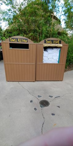 Towel issue and return bins...perfect for poolside. #resort #hospitality #madeinusa #syntheticwood #outdoorfurniture Furniture Making, Wood Furniture, Outdoor Furniture, Outdoor Decor, Recycled Plastic Furniture, Hospitality, Recycling, Towel, Home Decor
