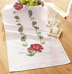 Red Poppy Stamped Cross Stitch Table Runner - 40 x 100cm