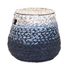 Blue Cascade Woven Water Hyacinth Basket