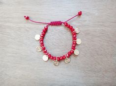 Ella Charms Bracelet Handmade bracelet with red crystal beads and gold plated brass disc charms. Bracelet size is adjustable / macrame closure. Bridesmaid Bracelet Gift, Bridesmaid Gifts, Handmade Jewellery, Handmade Bracelets, Unique Jewelry, Coin Bracelet, Bracelet Sizes, Crystal Beads, Crystals