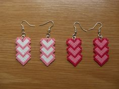 Pendientes corazones hama beads by Ursula