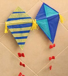 """Kite Kid's craft to go along with """"Curious George Flies a Kite"""" by Margret & H.-- Red and Purple group or younger art zone Kids Crafts, Summer Crafts, Preschool Crafts, Easy Crafts, Craft Projects, Arts And Crafts, Paper Crafts, Craft Ideas, Kites For Kids"""
